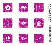 online asia icons set. grunge... | Shutterstock . vector #1296199702