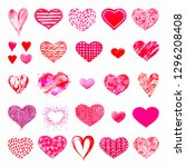various hand painted hearts ...   Shutterstock . vector #1296208408