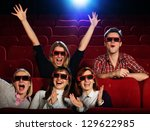 group of people in 3d glasses... | Shutterstock . vector #129622985