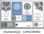 big set of greeting cards or... | Shutterstock .eps vector #1296258082