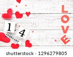 paper hearts with word love and ...   Shutterstock . vector #1296279805