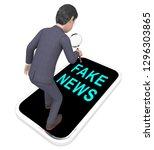 fake news phone represents... | Shutterstock . vector #1296303865