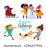 set multiracial kids playing in ... | Shutterstock . vector #1296317932