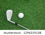 top view of iron golf club and... | Shutterstock . vector #1296319138