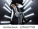 young handsome smiling hipster... | Shutterstock . vector #1296327748