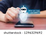 artificial intelligence ai chat ... | Shutterstock . vector #1296329692