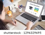 online learning concept. | Shutterstock . vector #1296329695