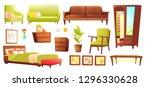 living or bedroom object set... | Shutterstock .eps vector #1296330628