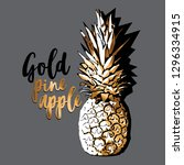 exotic gold tropical pineapple... | Shutterstock .eps vector #1296334915