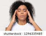 nervous african woman breathing ... | Shutterstock . vector #1296335485