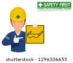 industrial worker is presenting ... | Shutterstock .eps vector #1296336655