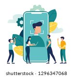 face recognition using a laser... | Shutterstock .eps vector #1296347068