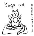 meditation yoga cat  vector... | Shutterstock .eps vector #129635192