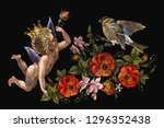 embroidery angels  roses... | Shutterstock .eps vector #1296352438
