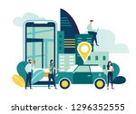 gps system  cartography display ... | Shutterstock .eps vector #1296352555