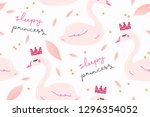 sweet sleepy princess swan... | Shutterstock .eps vector #1296354052