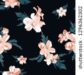 seamless pattern with  flowers .... | Shutterstock .eps vector #1296362302