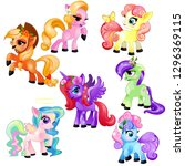 set of colorful little cute... | Shutterstock .eps vector #1296369115