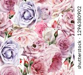 seamless floral pattern with... | Shutterstock . vector #1296380902