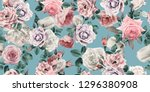 seamless floral pattern with... | Shutterstock . vector #1296380908