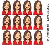 young beautiful brunette woman... | Shutterstock . vector #1296381592