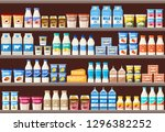 counter with dairy products.... | Shutterstock .eps vector #1296382252