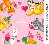 valentine's day cute animals... | Shutterstock .eps vector #1296405025