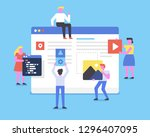 a team of web developers... | Shutterstock .eps vector #1296407095