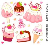 set of cute sweet icons in...   Shutterstock .eps vector #1296411478