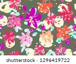 colourful flowers seamless... | Shutterstock .eps vector #1296419722