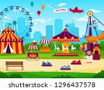 amusement park. attractions... | Shutterstock .eps vector #1296437578