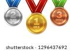 gold silver bronze medals.... | Shutterstock .eps vector #1296437692