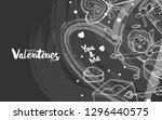 illustration of valentine with... | Shutterstock .eps vector #1296440575