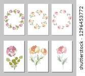 botanic card with wild flowers... | Shutterstock .eps vector #1296453772