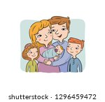happy parents keep the newborn... | Shutterstock .eps vector #1296459472