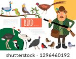 flat birds colorful natural... | Shutterstock .eps vector #1296460192