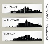 United States of America cities skylines - Ann Arbor, Michigan, Allentown, Pennsylvania, Beaumont, Texas, USA - isolated vector illustration
