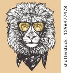 portrait of lion with glasses... | Shutterstock .eps vector #1296477478
