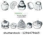 french desserts set with rum... | Shutterstock .eps vector #1296479665