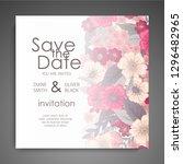 wedding card with flower rose ... | Shutterstock .eps vector #1296482965