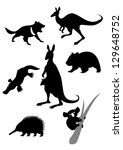 Vector image of silhouettes of australian animals - stock vector