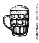 the mug with beer. hand drawn... | Shutterstock .eps vector #1296490912