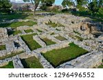 minoan archaeological site in... | Shutterstock . vector #1296496552