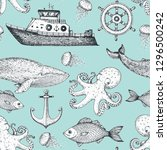 nautical seamless pattern. boat ... | Shutterstock .eps vector #1296500242