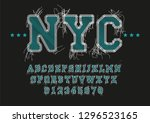 nyc font vector embroidery... | Shutterstock .eps vector #1296523165