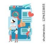 social media concept. talking... | Shutterstock .eps vector #1296523855