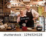 couple in their new cafe  proud ...   Shutterstock . vector #1296524128