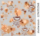 seamless pattern with coffee... | Shutterstock .eps vector #1296552568