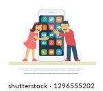smart phone addiction concept... | Shutterstock .eps vector #1296555202