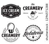set of vintage ice cream shop... | Shutterstock .eps vector #1296571288
